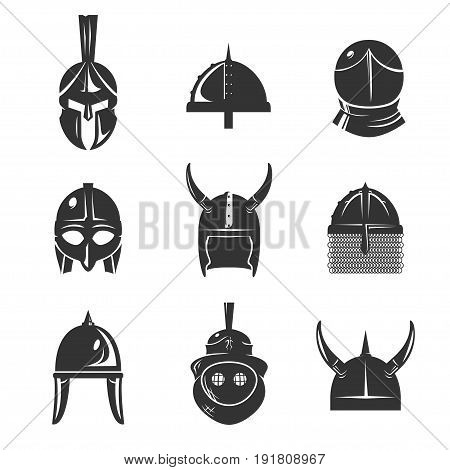 Warrior helmet icon set. Old conical shaped or horn ancient armour. Roman, Greek, Spartan Helmet, battle head protection. Vector flat style illustration isolated on white background