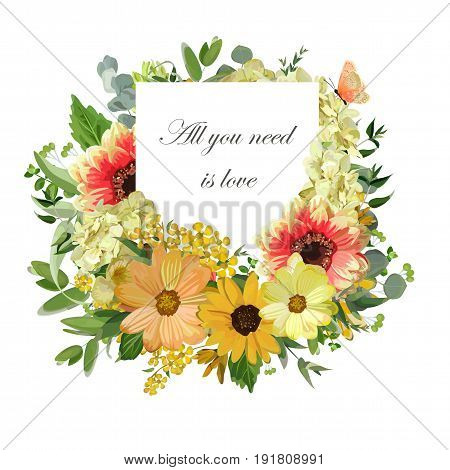 Vector design vertical card Yellow sunflower Hydrangea flowers dahlia eucalyptus green leaves orange butterfly. Elegant summer autumn paper with lettering text all you need is love isolated on white