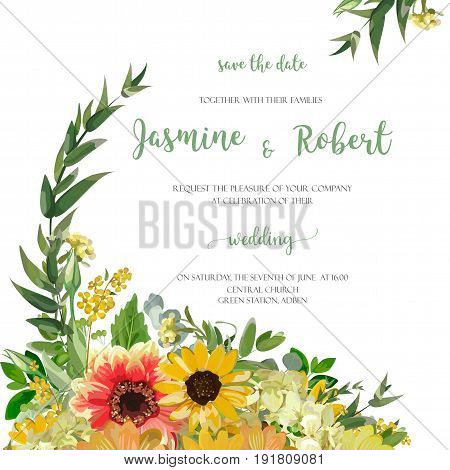 Flower Wreath yellow orange Dahlia Sunflower daisy Eucalyptus Leaves beautiful summer bouquet composition vector illustration square elegant Watercolor design wedding invitation card white background