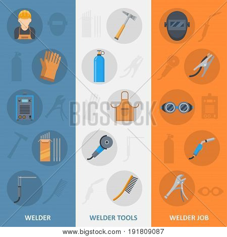 Welder banner icons set. Accessories and equipment for fusing materials, metal together. Skilled professional service poster. Vector flat style cartoon illustration isolated on white background
