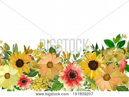 Garden yellow red and orange various collection of daisy cosmos flower sunflower flowers and greenery isolated white background. Watercolor elegant beautiful summer autumn Backdrop with copy space.