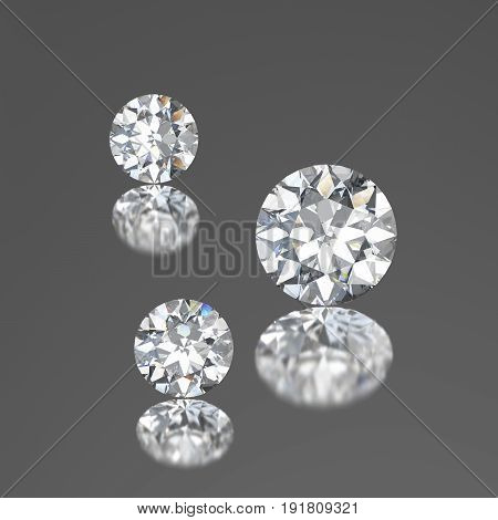 3D illustration three diamonds with reflection on a gray background