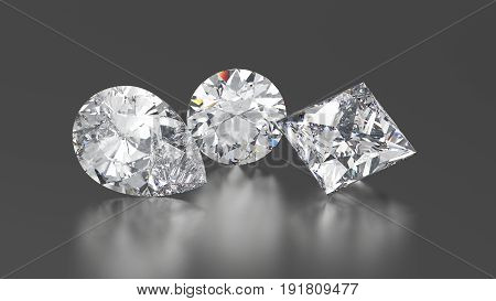 3D illustration three diamonds round princes pear with reflection on a gray background