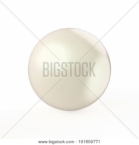3D illustration white pearl on a white background