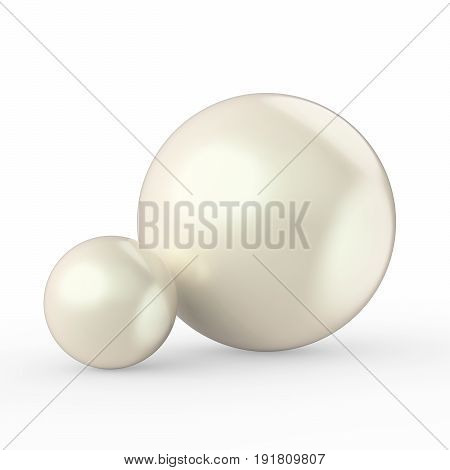 3D illustration two white pearls on a white background