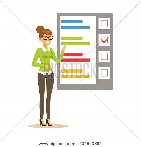 Young woman pointing to a poster with the results of voting vector Illustration isolated on a white background