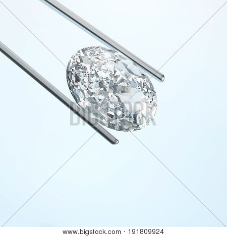 3D illustration closeup diamond in tweezers on a blue background