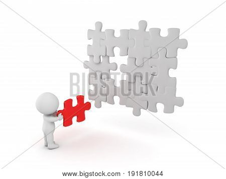 3D Character holding the missing puzzle piece. Isolated on white.