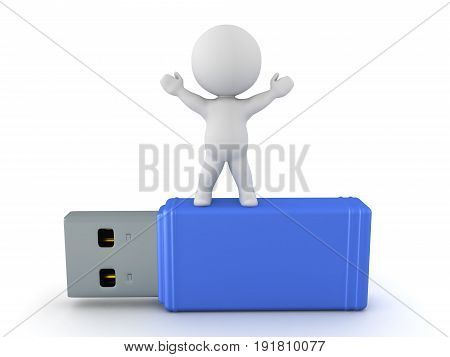 3D Character standing on USB stick with his arms raised. Isolated on white.