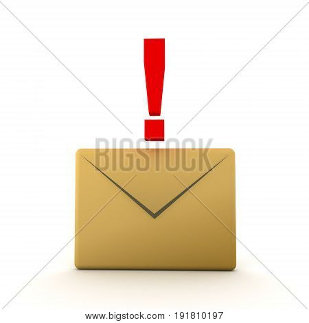 3D Illustration Of Mail Envelope With Red Exclamation Point On Top