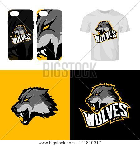 8e3aefa3 Wolf head sport club isolated vector logo concept. Modern professional team  badge mascot design.