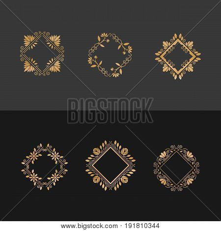 Vector set of flower frames logo design. Gold monograms and emblems in trendy liner style isolated. Golden floral and nature motifs. Perfect for flower shop, nature cosmetics, jewelry shop.