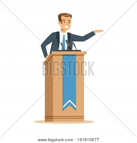 Orator speaking from tribune, public speaker character vector Illustration isolated on a white background