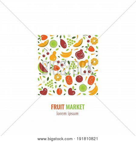 Vector logo design template with fruit  icons in trendy flat style - abstract emblem for organic shop, healthy food store, vegetarian cafe, restaurant menu, fruit market, juice bar .