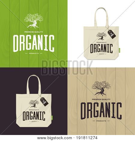 Olive tree vector logo concept isolated on green, white and brown background. Organic product emblem design set. Premium quality burlap shopping ecological bag and wood texture illustration mockup.