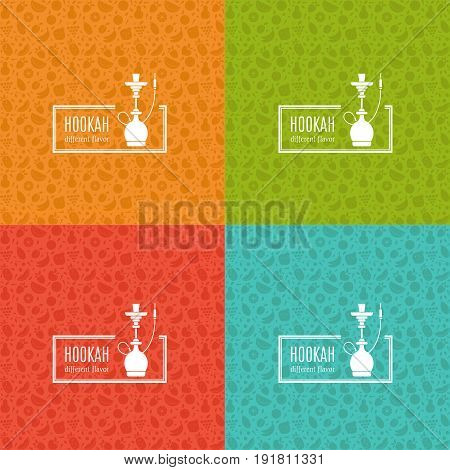 Set of vector pattern with fruit and hookah in trendy flat style. Hookah logo design template. Perfect for tobacco packaging design. Vector background collection.