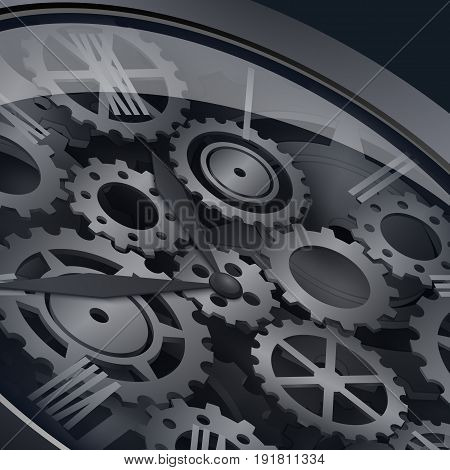 An antique metal clockwork with gears and glass. Clock on a black background. Vector illustration. 3D.