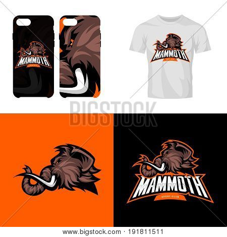 Furious woolly mammoth head sport club isolated vector logo concept. Modern team badge mascot design.Premium quality wild animal t-shirt tee print illustration. Smart phone case accessory emblem.
