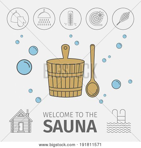 Conceptual poster with elements of Russian banya. Icons set. Vector illustration.