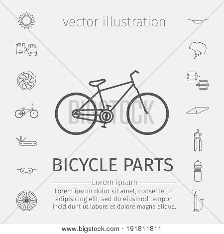 Bicycle parts and accessories. Line icons set. Vector illustration.