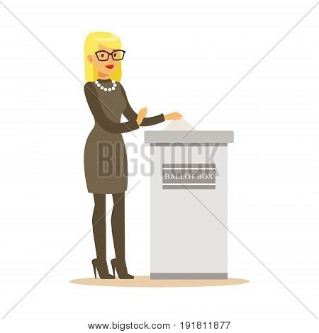 Woman putting a ballot into a voting box, casting vote vector character Illustration isolated on a white background