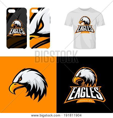 Eagle head sport club isolated vector logo concept. Modern professional team badge mascot design.Premium quality wild bird t-shirt tee print illustration. Smart phone case accessory emblem.
