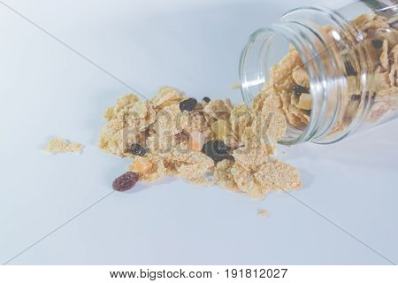 whole grain cereal flakes which mixed berry fruit and raisins. cereal cornflake