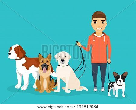 A young guy was walking his four dogs. A variety of dog breeds. Dogs on leash from the owner. In flat style on blue background. Cartoon.