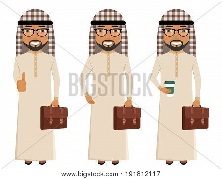 Young businessman of Arab origin on a white background. Set. Businessman with briefcase in hand. Confident. In flat style. Cartoon.