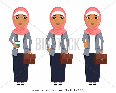 Young girl Arab, standing in a business suit and with a briefcase in hand. Business and trade. With a hijab on her head. Confident professional. In flat style on white background. Cartoon.