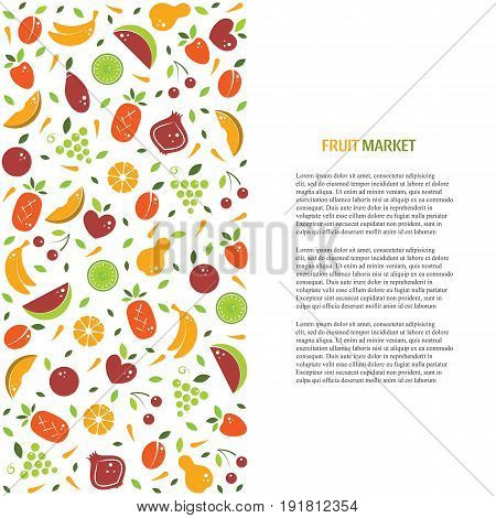 Vector fruit banner or flyer template with organic fruits. Conceptual illustration of healthy food in flat style with place for text. Perfect for restaurant menu, fruit market, juice bar illustration.