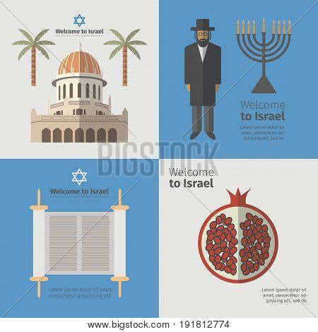 Israel poster set. Flat icon. Vector template