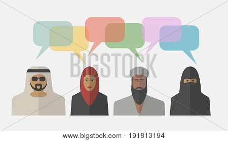 Arab people with colorful dialog speech bubbles. Vector illustration.