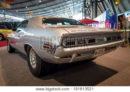 STUTTGART GERMANY - MARCH 03 2017: Muscle Car Dodge Challenger Pro Street 1970. Rear view. Europe's greatest classic car exhibition