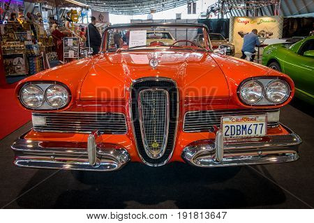 STUTTGART GERMANY - MARCH 03 2017: Full-size car Edsel Pacer Convertible 1958. Europe's greatest classic car exhibition