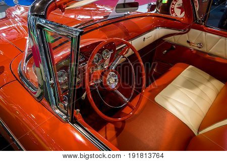 STUTTGART GERMANY - MARCH 03 2017: Interior of a full-size car Edsel Pacer Convertible 1958. Europe's greatest classic car exhibition