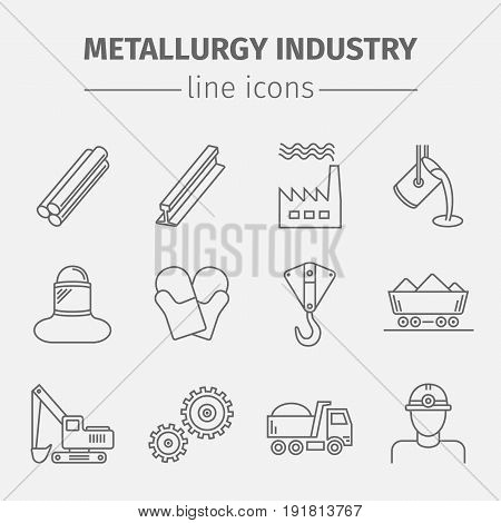 Metallurgy Isolated Flat Icons Set Vector illustration.