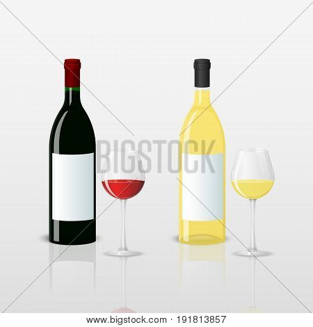 Vector illustration. Bottles with red and white wine and glasses on a white background. Design for a poster, business card, banner.