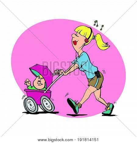 Funny Illustration mom care baby newborn. Multitask mom. supermom