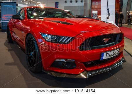 STUTTGART GERMANY - MARCH 03 2017: Pony car Ford Mustang GT AM1 Fastback Coupe 2016. Europe's greatest classic car exhibition