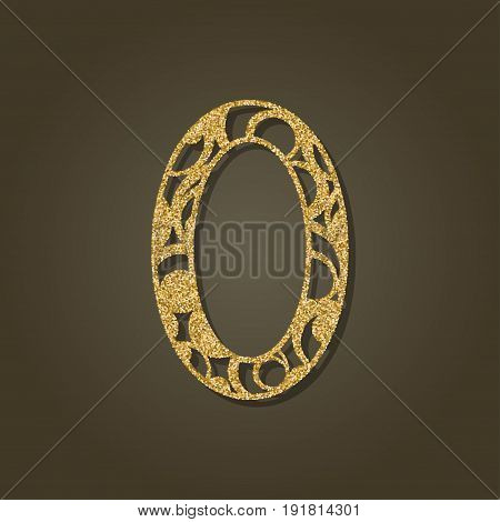 Number zero for laser cutting.Round gold pattern. Vector illustration.