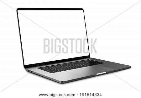Laptop with blank screen isolated on white background, white aluminium body.Whole  in focus. High detailed. 3d illustration