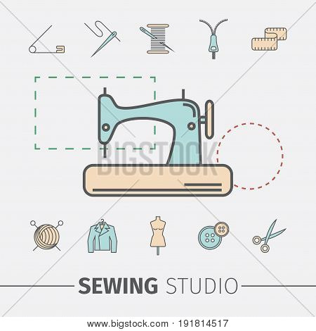 Sewing and needlework icons. Sewing studio vector design.
