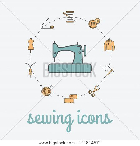 Sewing and needlework icons. Sewing studio poster. Vector illustration.