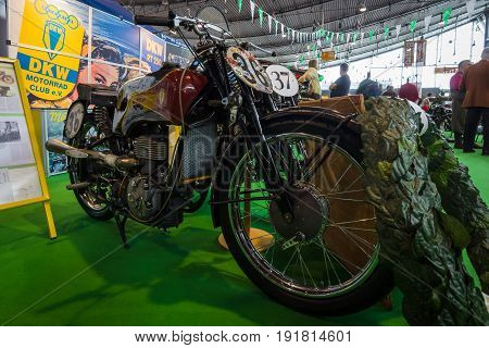 STUTTGART GERMANY - MARCH 03 2017: Motorcycle DKW SB 350 1938. Europe's greatest classic car exhibition