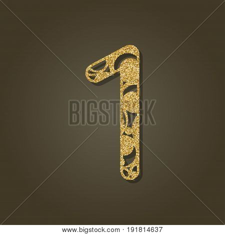 Number one for laser cutting.Round gold pattern. Vector illustration.