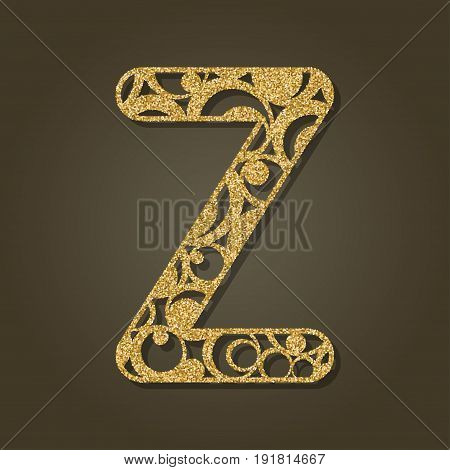 Gold letter Z for laser cutting. English alphabet. Vector illustration.