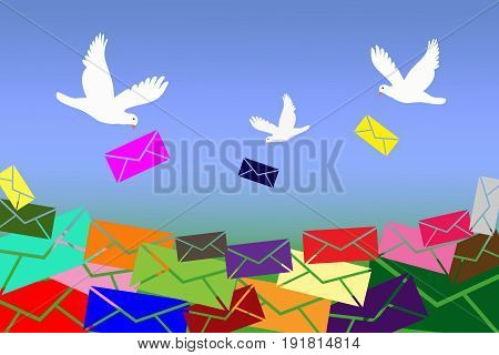 White doves are bringing too much colorful letters unread messages.