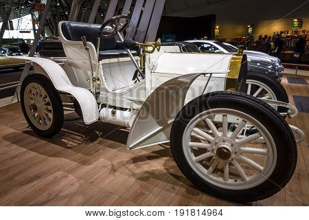 STUTTGART GERMANY - MARCH 03 2017: Retro car Mercedes Simplex 40PS 1903. Europe's greatest classic car exhibition