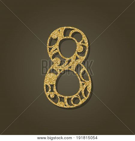 Number eight for laser cutting.Round gold pattern. Vector illustration.